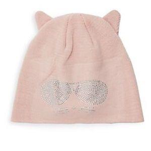 Karl Lagerfeld  Pink Disco Cat Beanie .NWT!